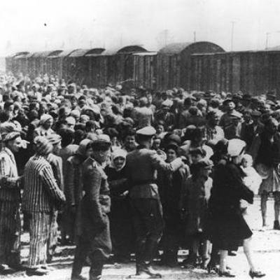 204-_arrival_at_auschwitz_-_victims_are_selected_for_the_gas_chambers_in_may_or_june_1944