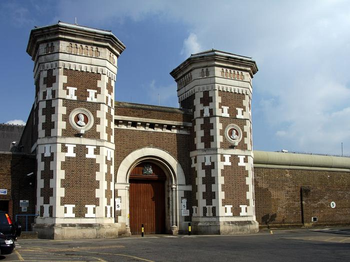Main gate to the HM Prison Wormwood Scrubs in spring 2013